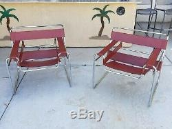 Set of Two Rare Wassily Coral Red Leather Chrome Club Side Chairs Modern Italian