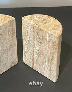 Signed F Mannelli Signa Vtg Mid Century Modern Travertine Marble Bookend Italy