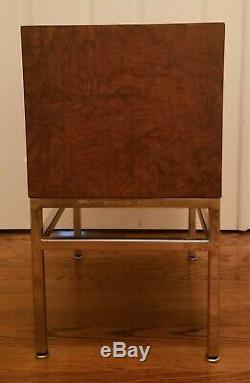 Small Italian Burlwood 2 Drawer Chest With Metal Base