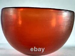 Small Venini Murano warm red glass bowl classic design nr