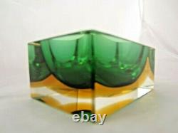 Stunning Murano sommerso green & amber faceted brick block bowl