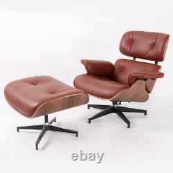 Tan eams style Lounge Chair & ottoman full Genuine Italian Leather Walnut