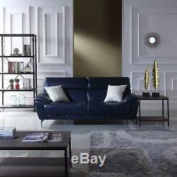 Top Grain Italian Leather Mid-Century Modern Living Room Sofa (Polo Blue)