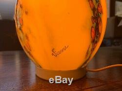 VIANNE Signed Table Lamp, Egg Glass 1970s Vintage, MCM, Murano Style