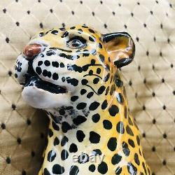 VINTAGE Italian MCM Ceramic Terracotta Leopard Cheetah Statue FIGURE Italy 8