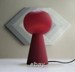 VINTAGE Mid Century Modern CASED Italian OXBLOOD Red GLASS MUSHROOM Orb LAMP