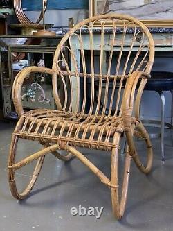 VINTAGE Mid Century Modern Franco Albini Era Bamboo Rattan Chair
