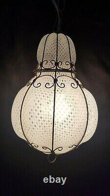 VTG Italian Murano Glass Latticino Caged Hanging Light Lamp Fixture Chandelier