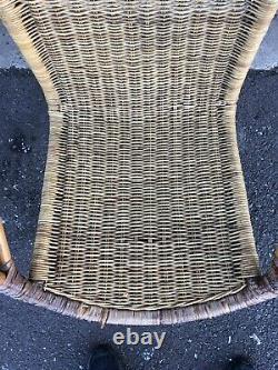 VTG Mid Century IRON & RATTAN ACCENT SIDE CHAIR Lounge Armchair UMANOFF