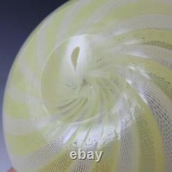 Venini Murano Yellow & White Glass Zanfirico Bowl by Carlo Scarpa