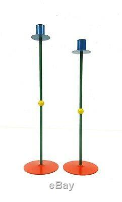 Very Rare Tall Pair MID Century Italian Memphis Sottsass Candlesticks 1980