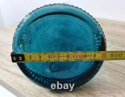 Vintage 1960s Blue EMPOLI Zodiac Optic Genie Bottle Decanter With Hobnail Top