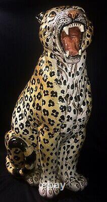 Vintage 1960s Italy Hollywood Regency Art Pottery Majolica Leopard Cheeta Large