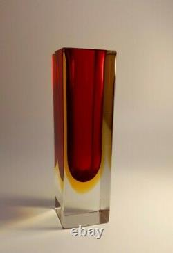 Vintage 1960s Mandruzzato Multi Rich Sommerso Murano Faceted Art Glass Vase