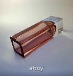 Vintage 70s Alessandro Mandruzzato Pink Sommerso Murano Faceted Art Glass Vase