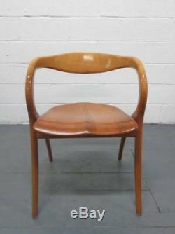 Vintage A. Sibau Curved Cherry Wood Italian Star Chair Made in Italy