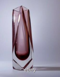 Vintage AlessandroMandruzzato Sommerso Murano Faceted Art Glass Vase Pink Colour