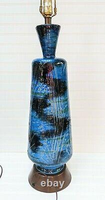 Vintage Bitossi Italian Ceramic Large Table Lamp Rimini Blu Aldo Londi mcm blue