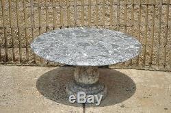 Vintage Decorator Hollywood Regency Italian Grey Marble Round Coffee Table
