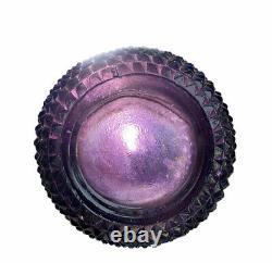 Vintage Empoli Amethyst Purple Diamond Point Glass Genie Bottle Decanter 60s MCM