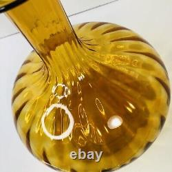 Vintage Empoli Glass Decanter Amber Blown With Stopper 12 Tall 8 Wide