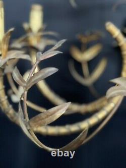 Vintage Faux Bamboo Tole Chandelier Gold Gilt Chinoiserie Italian Regency 25