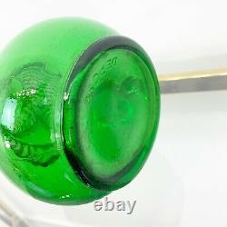 Vintage Green Glass Spiral Genie Bottle Decanter Mid Century Italian 22 Tall