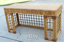 Vintage Italian Dal Vera Bamboo Woven Rattan MCM Desk Console