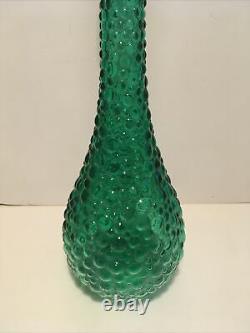 Vintage Italian Empoli Art Glass Genie Bottle Emerald Green Hobnail Design