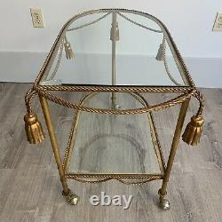 Vintage Italian Gilt Tole Rope Tassle Bar Cart Hollywood Regency