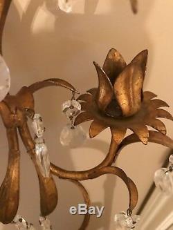 Vintage Italian Hollywood Regency Mid Century Gold Crystal Pair Wall Candles