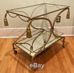 Vintage Italian Made Gilt Twisted Rope & Tassel Tea / Bar Cart Hollywood Regency