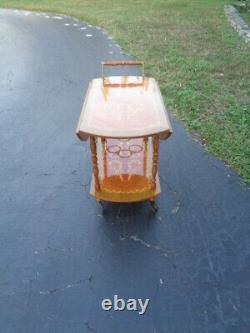 Vintage Italian Marquetry Inlaid Wooden Drop Leaf Tea/Liquor Cart