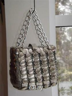 Vintage Italian Silver Metal Disc Evening Bag Paco Rabanne Style Space Age Desig