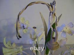 Vintage Italian Tole Chandelier Floral Flowers Mid Century Modern 5 Lights