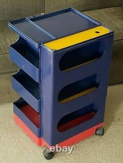 Vintage Joe Colombo Boby Blue Plastic Trolley Rolling Cart Storage Organizer