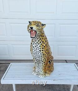 Vintage Large Italian Ceramic Cheetah Hand Painted Circa 1970