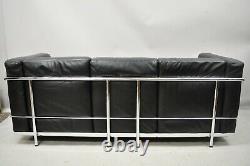 Vintage Le Corbusier LC2 Style Black Leather Mid Century 3 Seat Chrome Sofa