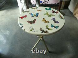 Vintage MID Century Italian Fornasetti White Butterfly Table