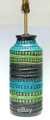 Vintage MID Century Modern Ceramic Lamp Bitossi Raymor Aldo Era Blue Green