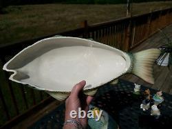 Vintage Majolica Faience Fish Shape Soup Tureen Italy Serving Dish Platter Lemon