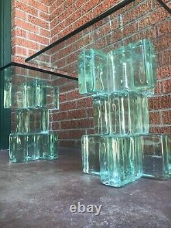 Vintage Mid-Century Glass Cube Imperial Engineering Coffee Table Or End Tables