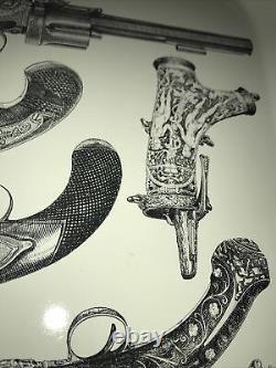 Vintage Mid Century Modern 1960s Italian Piero Fornasetti Pistol Gun Metal Tray
