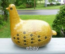Vintage Mid Century Modern Aldo Londi Raymor Bitossi Pottery Mustard Fat Bird