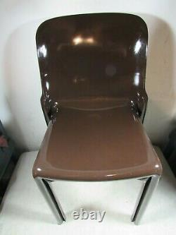 Vintage Mid Century Modern Artemide Selene Vico Magistretti Brown Chair Italy