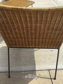 Vintage Mid Century Modern Italian 3 Piece Wicker Patio Set (B)