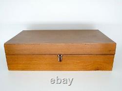 Vintage Mid-Century Modern Italian Metal Chess Set. Brass & Steel. Wood Box