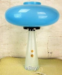 Vintage Mid Century labeled Oval Blue Opal UFO Murano Mushroom Lamp Laurel