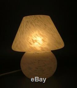 Vintage Murano Italian Art Glass White Frost Satined Mushroom Table Lamp 9