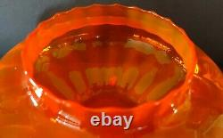Vintage Orange Swirl Empoli Italy Art Glass Candy Dish 9.5 Tall Apothecary Lid